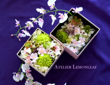 アトリエレモンリーフの桜のボックスアレンジ